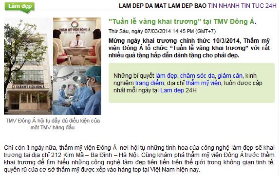 Báo chí nói về Thẩm mỹ viện Đông Á 1